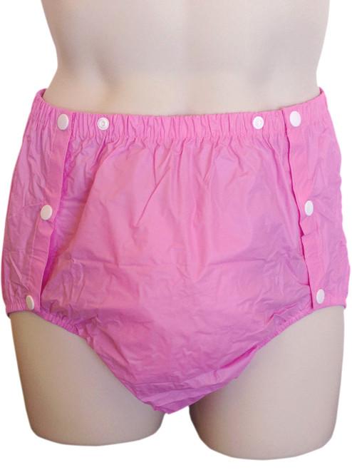 Cuddlz Pink side snap adult plastic pants