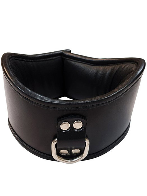 Black Rouge Leather padded bondage posture neck collar with 1 D ring for bdsm slave gimp puppy pony play
