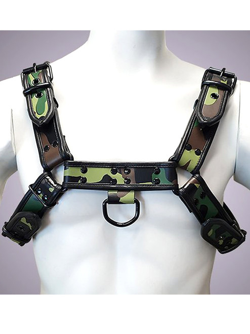 Rouge Green Camouflage Print Leather OT H Style Front Chest Harness for Bondage bdsm slaves gay with Coloured Accessories Black or Red Studs and D rings and for attachments