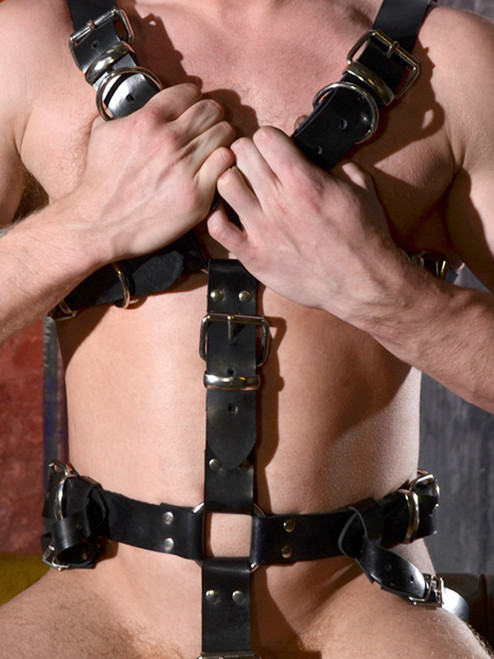 Rouge Black leather bondage full body slave harness bdsm fetish