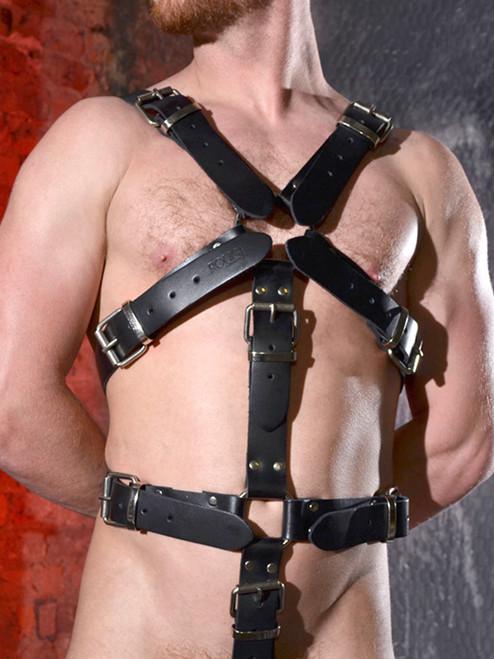 Rouge Black Leather bondage masters body harness bdsm fetish slave and master