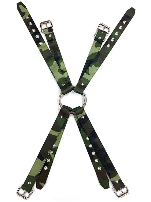 Rouge Green Army Camouflage Chest Harness With Buckle Fastening Bondage BDSM Slave Clubbing Camo