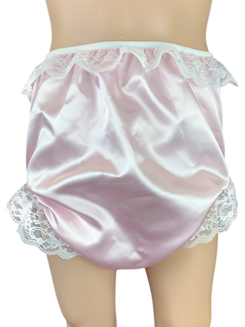 Cuddlz Baby Pink or Blue Satin Sissy Knickers ABDL Adult Baby Fetish Briefs Shiny Silky