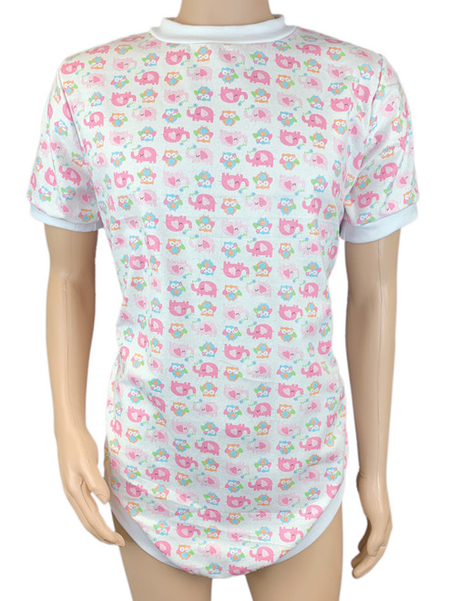 Cuddlz Cute Pink Elephant and Owl Pattern Brushed Cotton Wincyette short zip fastening onesie for adults with locking zip option ABDL clothing adult baby diaper lovers Lockable Romper Sleepsuit