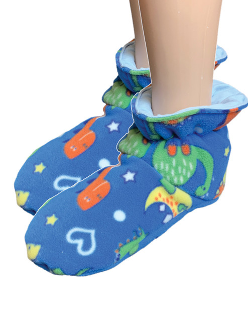 Cuddlz Blue Dinosaur Pattern fleece adult baby padded booties fetish matching abdl booties and mittens