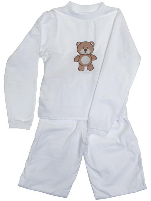 Cuddlz Baby White Wincyette Brushed Cotton Adult ABDL Big Boys or Girls Pyjamas