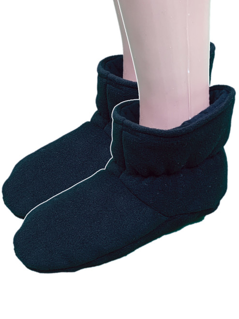 Cuddlz Plain Black fleece adult baby padded booties fetish matching abdl booties and mittens