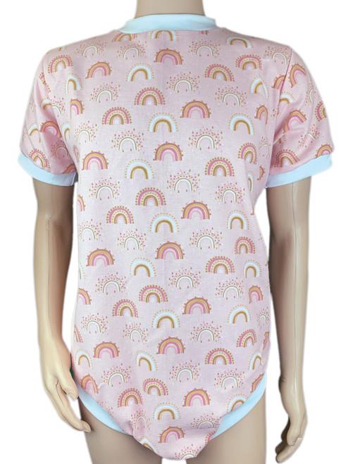 Cuddlz Pink rainbow Pattern Brushed Cotton Zipped Adult Onesie With Locking Zip Option