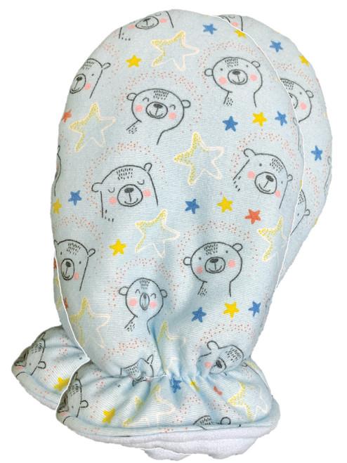 Cuddlz Cute Blue Polar Bear Pattern Brushed Cotton Adult Baby Mittens ABDL Gloves Fetish