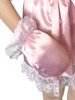 Cuddlz Pink Satin sissy adult baby padded Mittens fetish with matching abdl booties