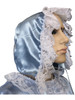 Cuddlz Blue Satin abdl adult baby bonnet with frills and lace with matching mittens, booties and dress