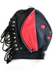 Rouge Leather Full Face Mask / Hood with Full Front Zipped Fly Trap Fastening Bondage BDSM Gimp Black or Black and Red ABDL