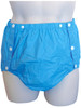 Cuddlz blue snapon plastic pvc pants for adults
