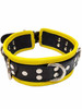 Black & Yellow Rouge Five 5 D Ring Bondage Collar for attaching a lead or restraints BDSM Leather Slave Puppy Play ABDL