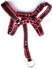 Black & Red Rouge Leather bondage bdsm chest harness with detachable body strap with cock or dildo ring attached