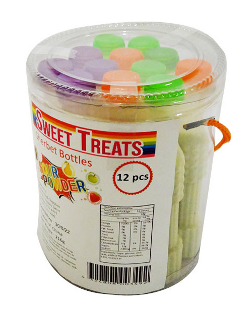 Sweet Treats Sour Sherbet Bottles, by Brisbane Bulk Supplies,  and more Confectionery at The Professors Online Lolly Shop. (Image Number :16881)