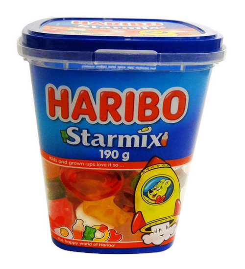 Haribo Starmix Tub, by Haribo,  and more Confectionery at The Professors Online Lolly Shop. (Image Number :17069)