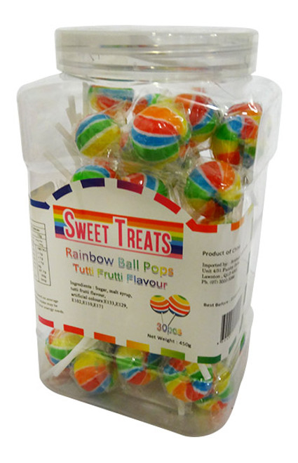 Sweet Treats - Ball Pop Jar - Rainbow at The Professors Online Lolly Shop. (Image Number :17228)