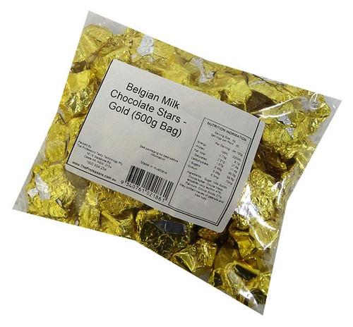 Belgian Milk Chocolate Stars - Gold (500g Bag)