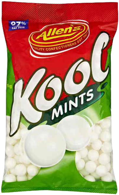 Allens Kool Mints, by Allens Confectionery,  and more Confectionery at The Professors Online Lolly Shop. (Image Number :6224)