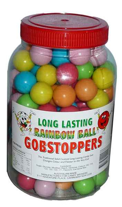 Long Lasting Rainbow Ball Gobstoppers, by Candy Brokers,  and more Confectionery at The Professors Online Lolly Shop. (Image Number :2048)
