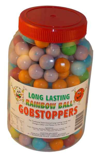 Long Lasting Rainbow Ball Gobstoppers, by Candy Brokers,  and more Confectionery at The Professors Online Lolly Shop. (Image Number :2049)