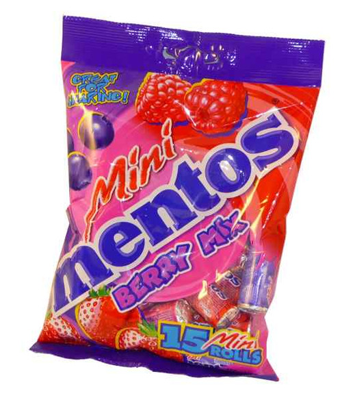 Mini Mentos 15 Roll Berry Mix Bag, by Perfetti Van Melle,  and more Confectionery at The Professors Online Lolly Shop. (Image Number :2076)