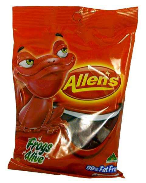 Red Frogs Alive - Saver Pack, by Allens Confectionery,  and more Confectionery at The Professors Online Lolly Shop. (Image Number :2112)