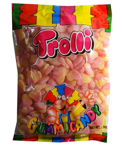 Trolli Sour Peach Hearts 2kg Bag, by Trolli,  and more Confectionery at The Professors Online Lolly Shop. (Image Number :7886)