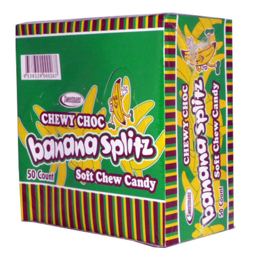 Chewy Choc Banana Splitz, by Sweetmans,  and more Confectionery at The Professors Online Lolly Shop. (Image Number :2512)