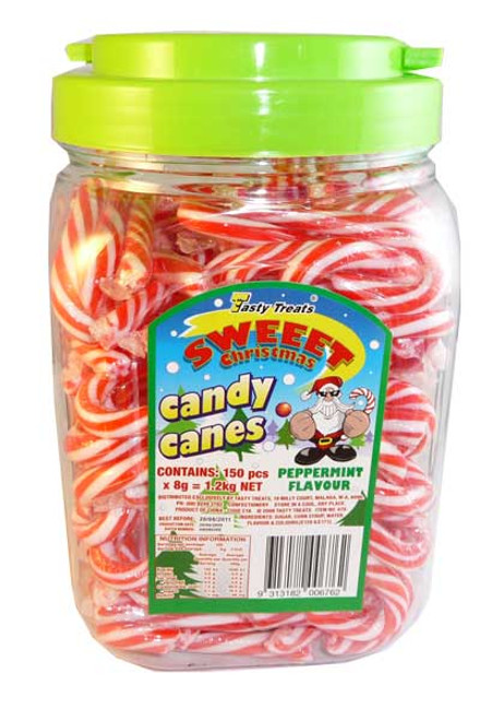 Sweet Christmas Candy Canes, by Tasty Treats,  and more Confectionery at The Professors Online Lolly Shop. (Image Number :2820)
