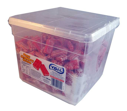 Vidal Fizzy Strawberry Bricks, by Candy Brokers/vidal,  and more Confectionery at The Professors Online Lolly Shop. (Image Number :2736)