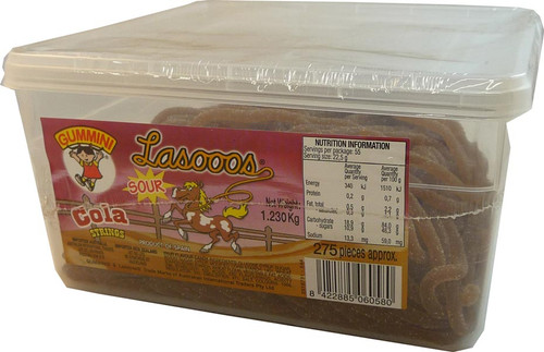 Lasooos Sour Cola Strings, by AIT Confectionery,  and more Confectionery at The Professors Online Lolly Shop. (Image Number :2670)