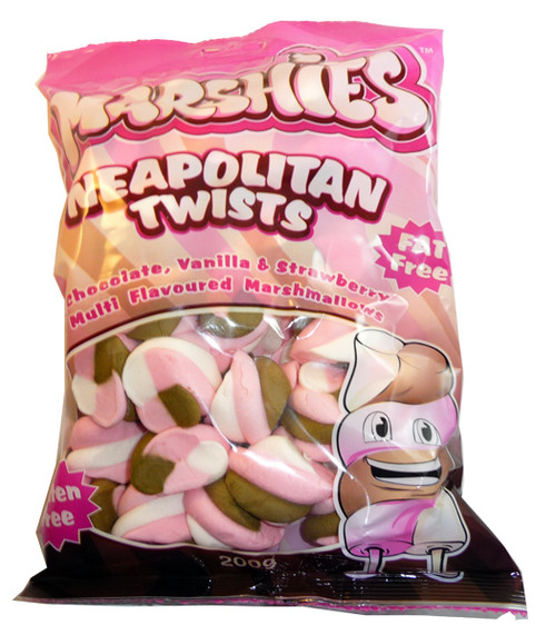 Marshies Neapolitan Twists, by Marshies,  and more Confectionery at The Professors Online Lolly Shop. (Image Number :3161)