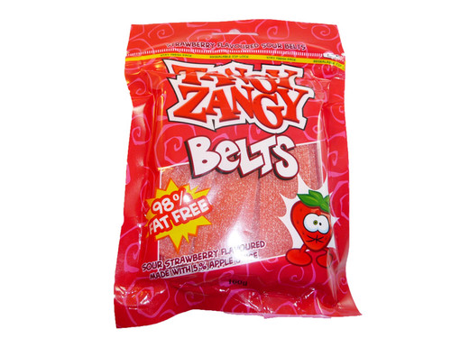 Tangy Zangy Belts Strawberry, by Morris National,  and more Confectionery at The Professors Online Lolly Shop. (Image Number :3233)