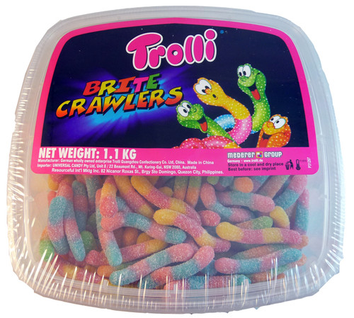 Trolli Brite Crawlers Tub, by Trolli,  and more Confectionery at The Professors Online Lolly Shop. (Image Number :3308)