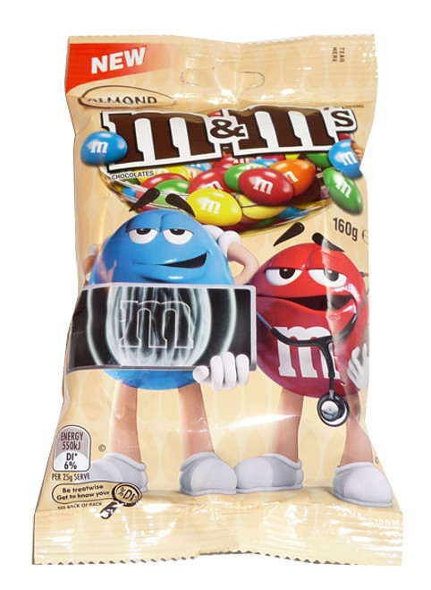 M&M Almond bags, by Mars,  and more Confectionery at The Professors Online Lolly Shop. (Image Number :3552)
