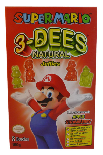 Super Mario 3-Dees Natural Jellies Apple / Strawberry, by Candy Brokers,  and more Confectionery at The Professors Online Lolly Shop. (Image Number :3571)