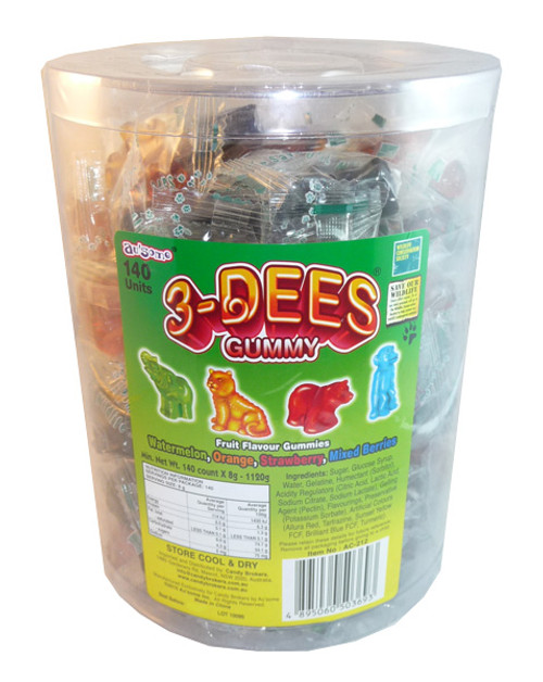 3-Dees Gummy, by Candy Brokers,  and more Confectionery at The Professors Online Lolly Shop. (Image Number :3629)