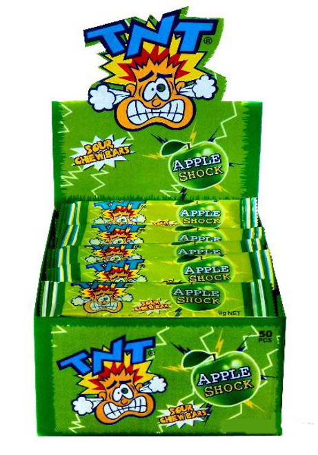 TNT Shocks - Apple, by TNT,  and more Confectionery at The Professors Online Lolly Shop. (Image Number :7447)