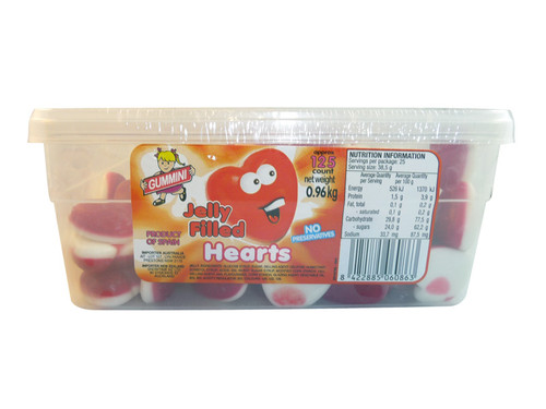 Gummini Jelly Filled Hearts, by AIT Confectionery,  and more Confectionery at The Professors Online Lolly Shop. (Image Number :3477)