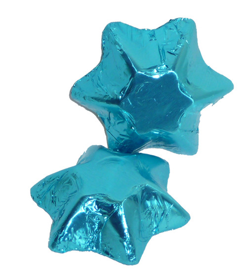 Chocolate Gems - Chocolate Stars - Light Blue Foil, by Chocolate Gems,  and more Confectionery at The Professors Online Lolly Shop. (Image Number :4232)