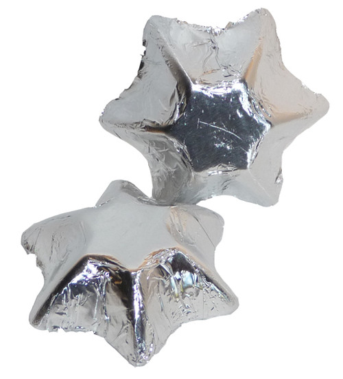 Chocolate Gems - Chocolate Stars - Silver Foil, by Chocolate Gems,  and more Confectionery at The Professors Online Lolly Shop. (Image Number :4233)