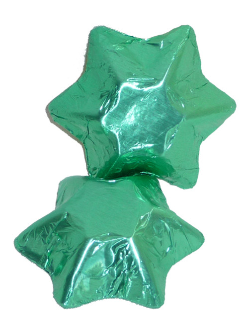 Chocolate Gems - Chocolate Stars - Ice Green Foil, by Chocolate Gems,  and more Confectionery at The Professors Online Lolly Shop. (Image Number :4259)