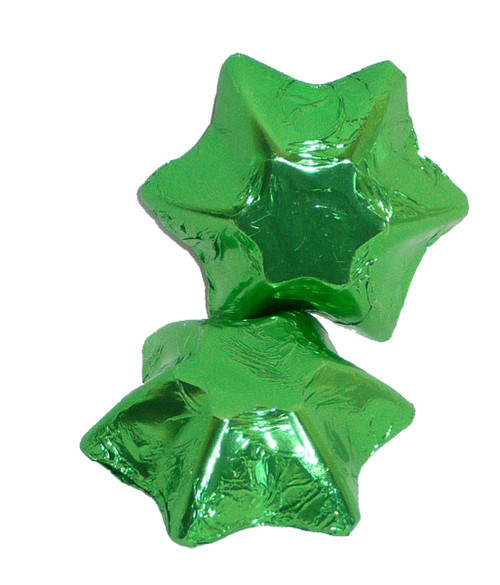 Chocolate Gems - Chocolate Stars - Lime Green Foil, by Chocolate Gems,  and more Confectionery at The Professors Online Lolly Shop. (Image Number :4261)
