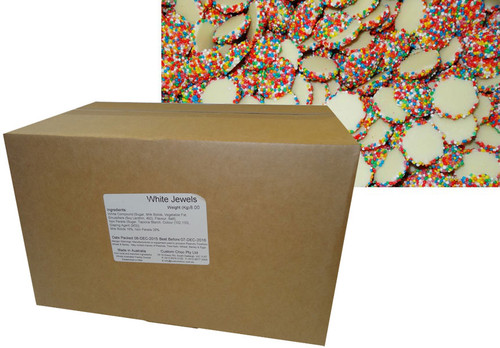 Custom Choc - White Choc Jewels with Multi-Coloured Speckles, by Confectionery Trading Company,  and more Confectionery at The Professors Online Lolly Shop. (Image Number :9648)