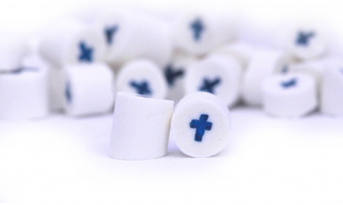 Rock Candy - White and Blue - Cross Center, by Designer Candy,  and more Confectionery at The Professors Online Lolly Shop. (Image Number :9096)