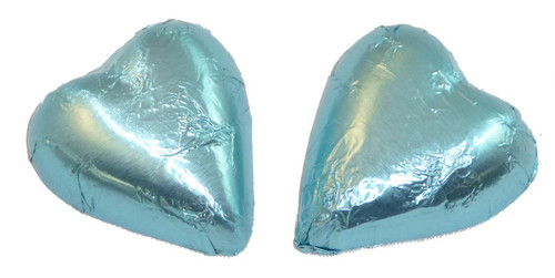 Chocolate Gems - Chocolate Hearts - Ice Blue Foil, by Chocolate Gems,  and more Confectionery at The Professors Online Lolly Shop. (Image Number :5098)
