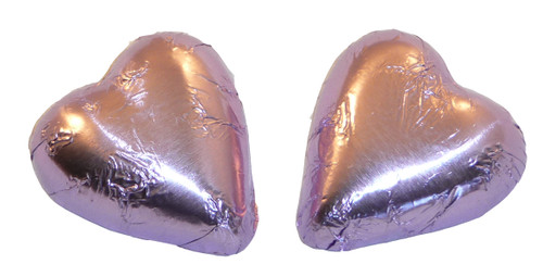 Chocolate Gems - Chocolate Hearts - Lilac Foil, by Chocolate Gems,  and more Confectionery at The Professors Online Lolly Shop. (Image Number :5101)