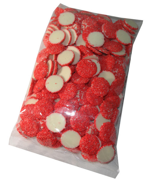 White Choc Sparkles - Red, by Confectionery Trading Company/Hugos Confectionery,  and more Confectionery at The Professors Online Lolly Shop. (Image Number :5482)